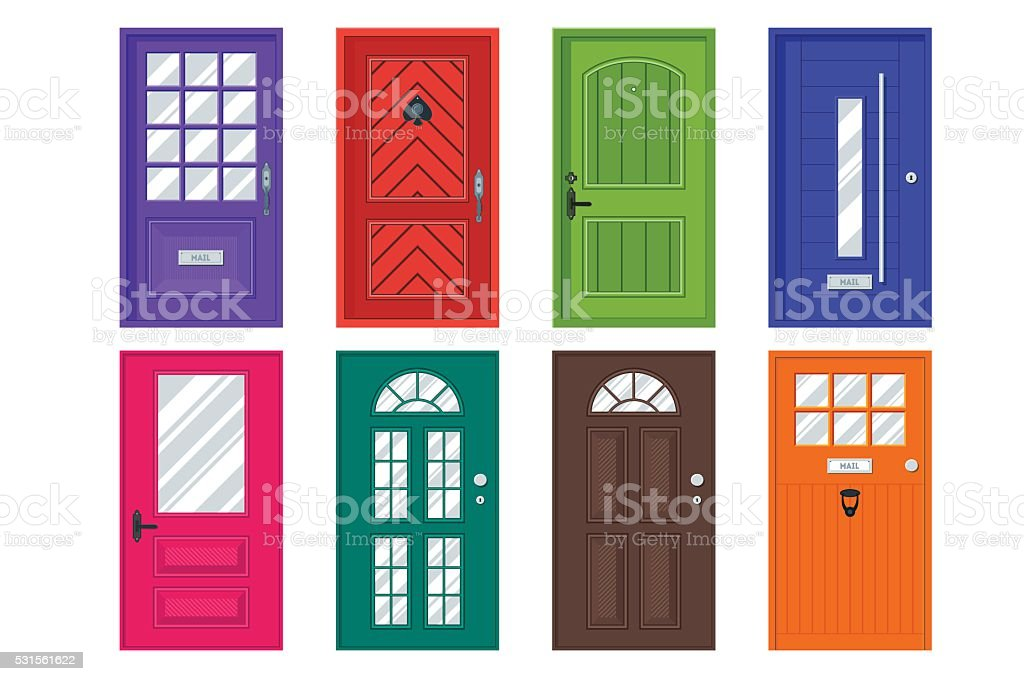 Set of detailed front doors for private house or building. vector art illustration