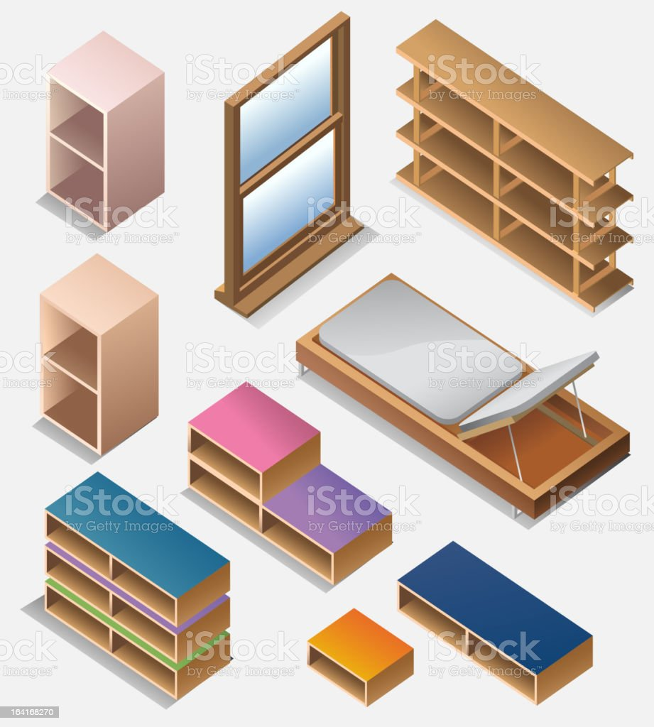 set of detailed furniture isometric royalty-free stock vector art