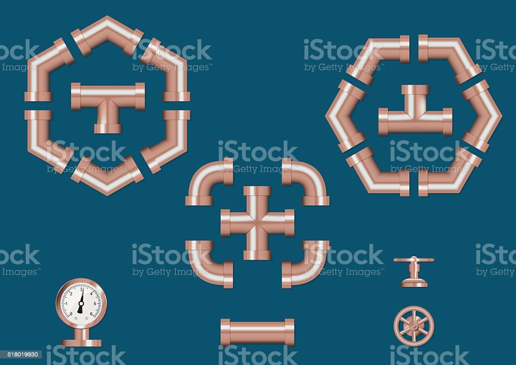 Set of detailed pipeline construction vector art illustration