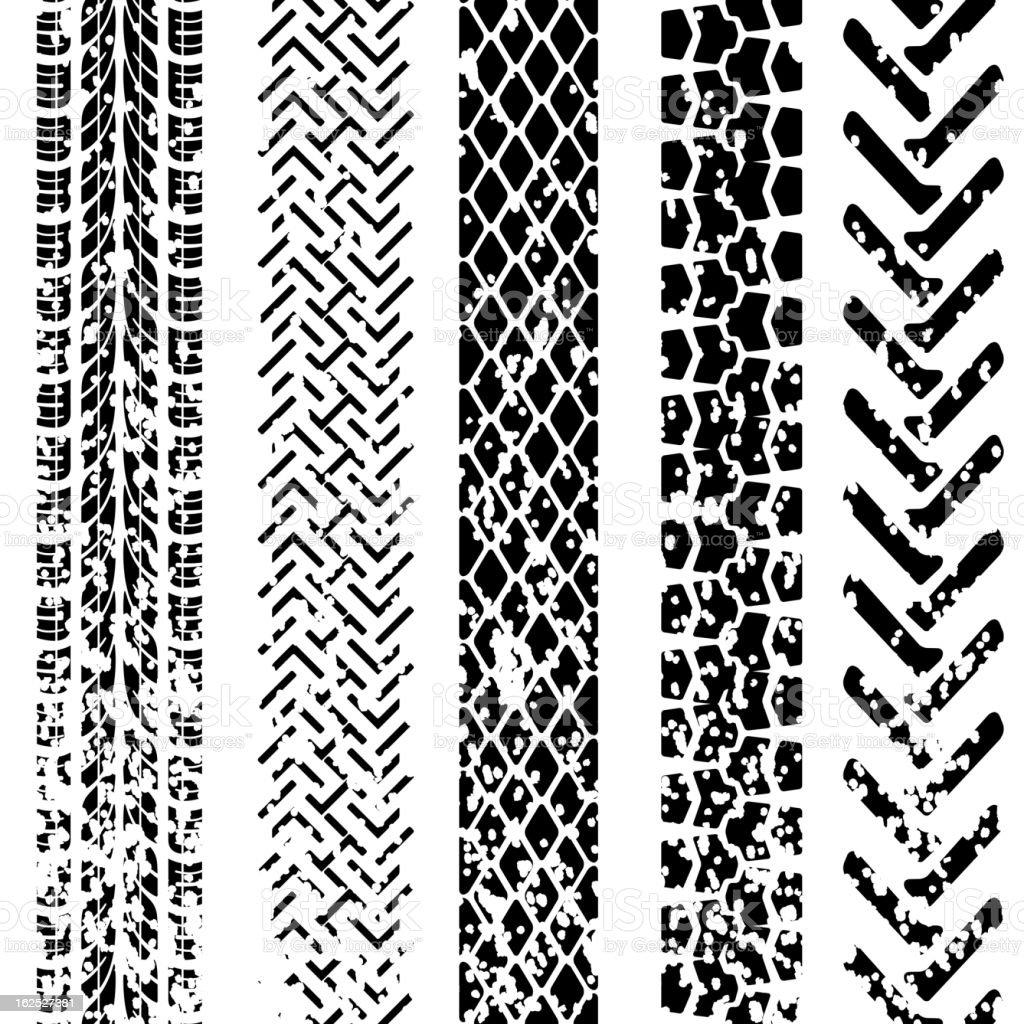 Set of detailed tire prints vector art illustration