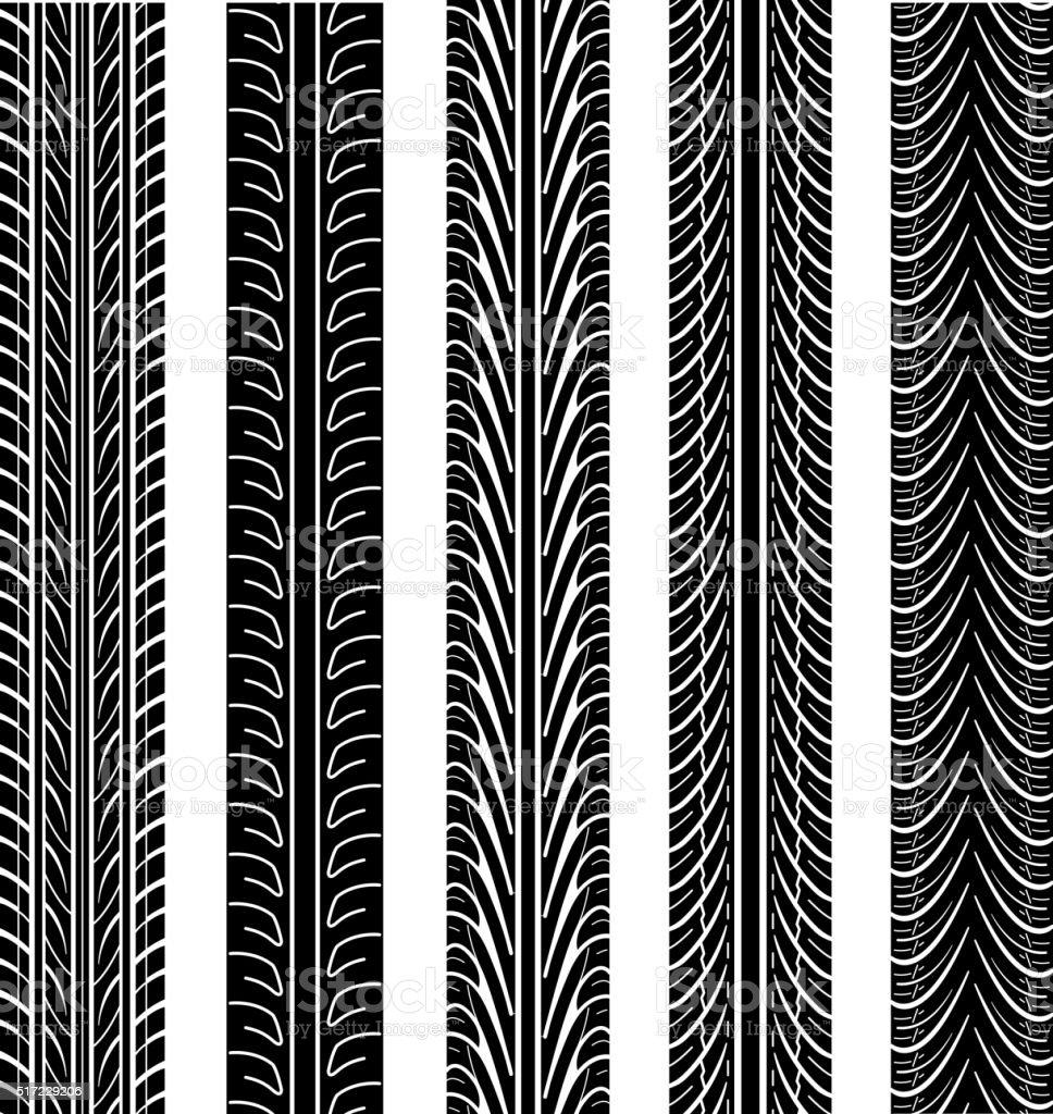 Set of detailed tire prints, vector illustration vector art illustration
