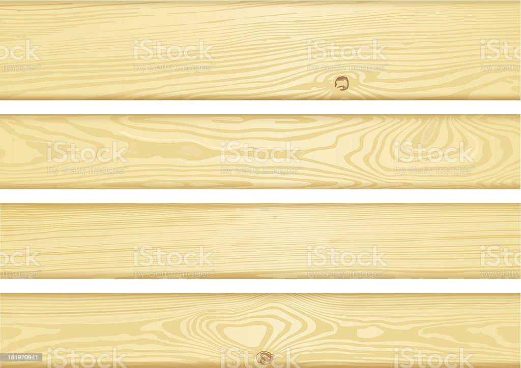 Set of detailed wood boards vector art illustration