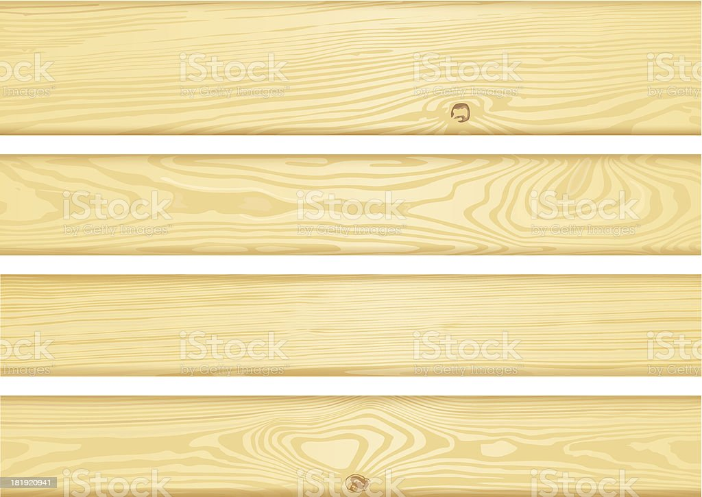 Set of detailed wood boards vector art illustration