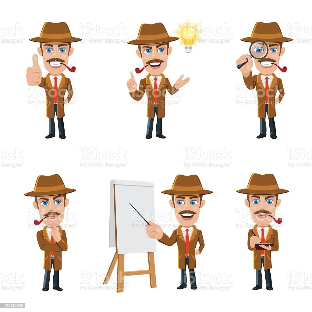 Set of Detective Character in 6 Different Poses vector art illustration