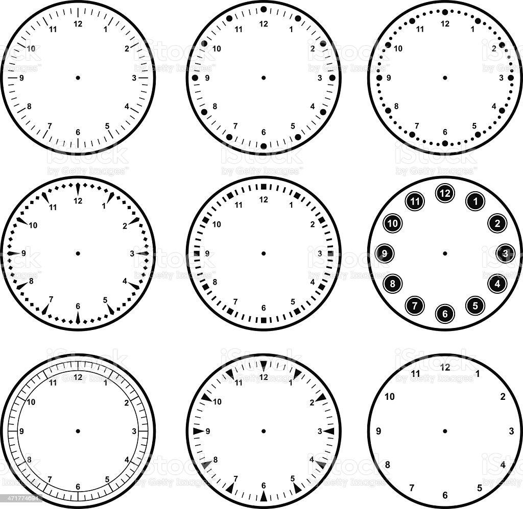Set of dials with different graduations vector art illustration