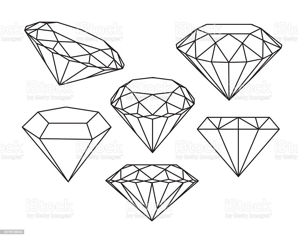 Set of diamonds icons. Vector illustration. vector art illustration