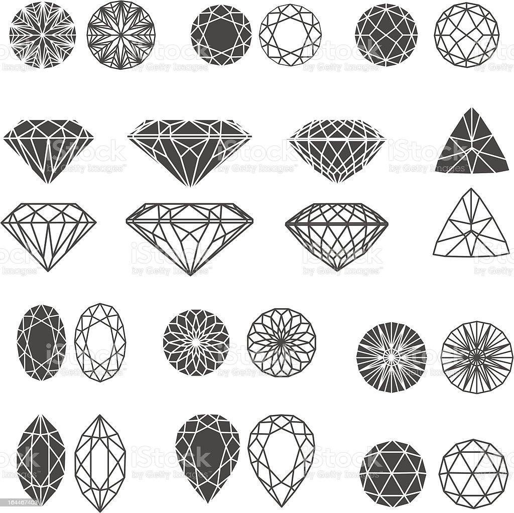 Set of diamonds vector art illustration