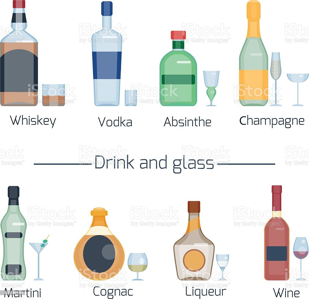 Set of different alcoholic drinks and glasses vector art illustration