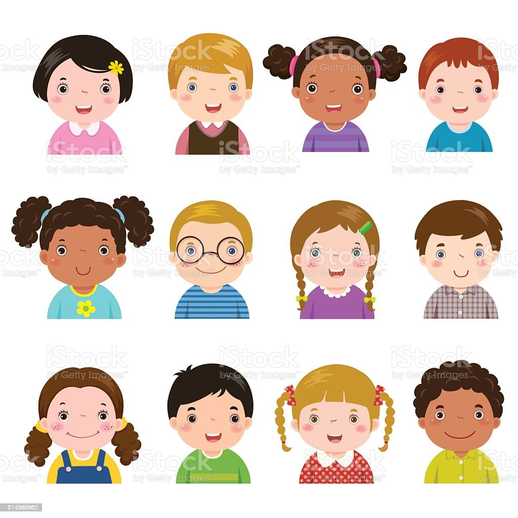 Set of different avatars of boys and girls vector art illustration