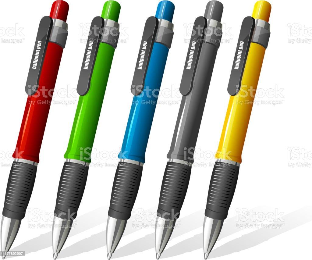 Set of different ballpoint pens royalty-free stock vector art