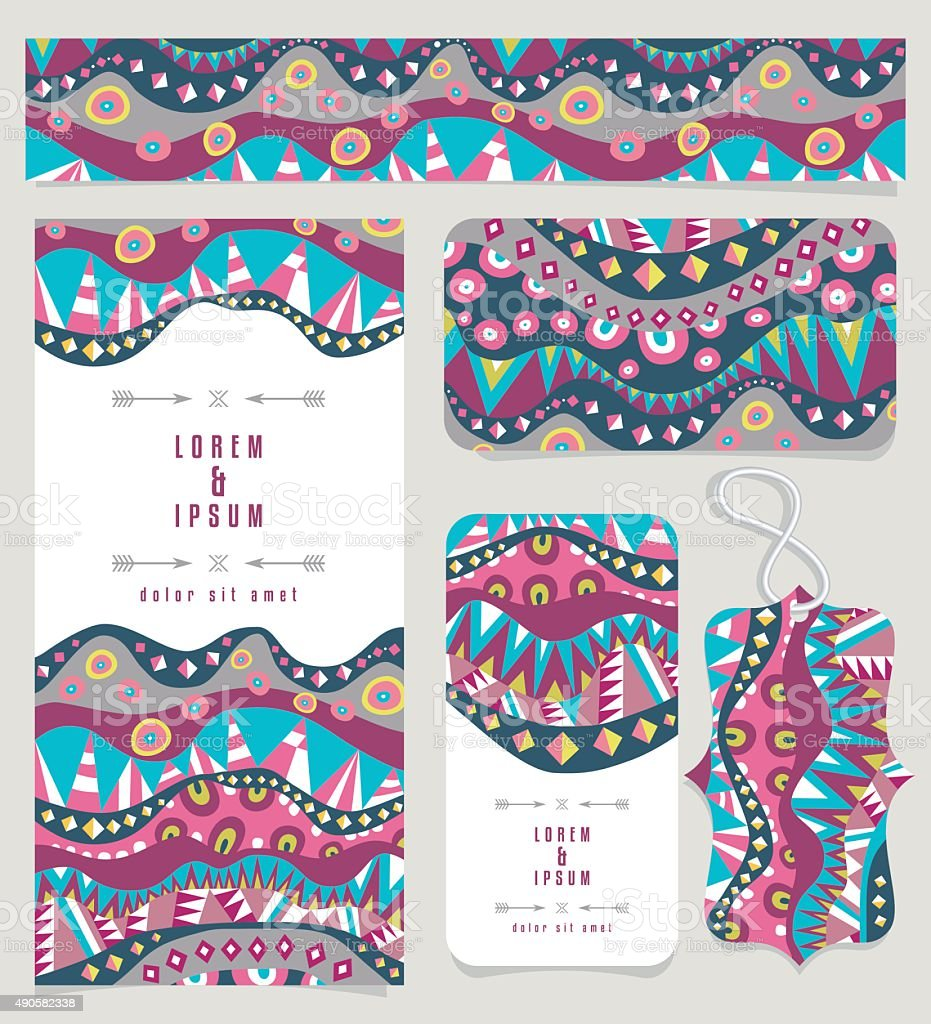 Set Of Different Banners With Aboriginal Pattern Vintage Colors vector art illustration