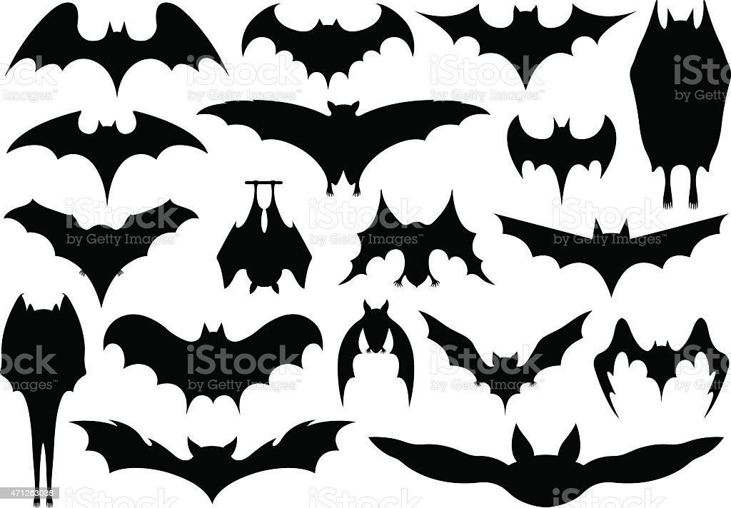 Set of different bats vector art illustration