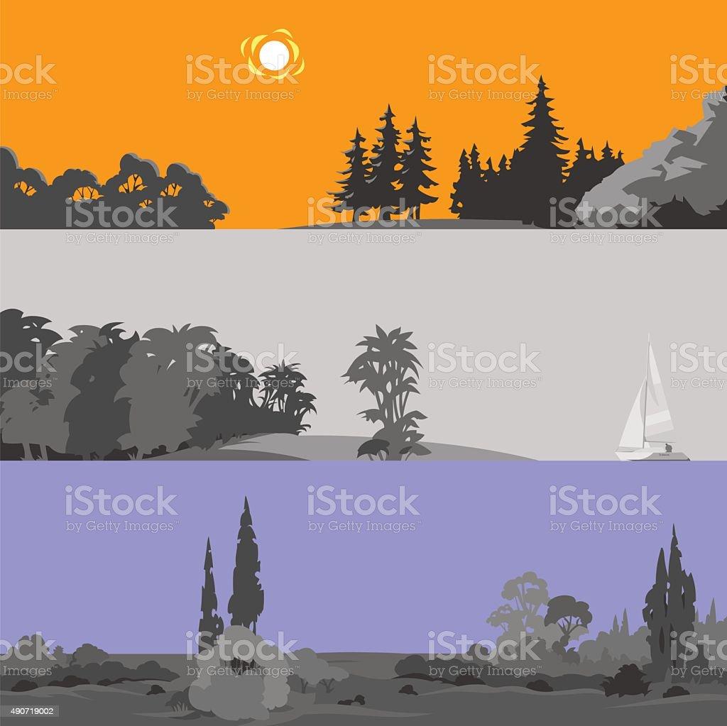Set of different beautiful forest landscapes. Vector illustration. vector art illustration
