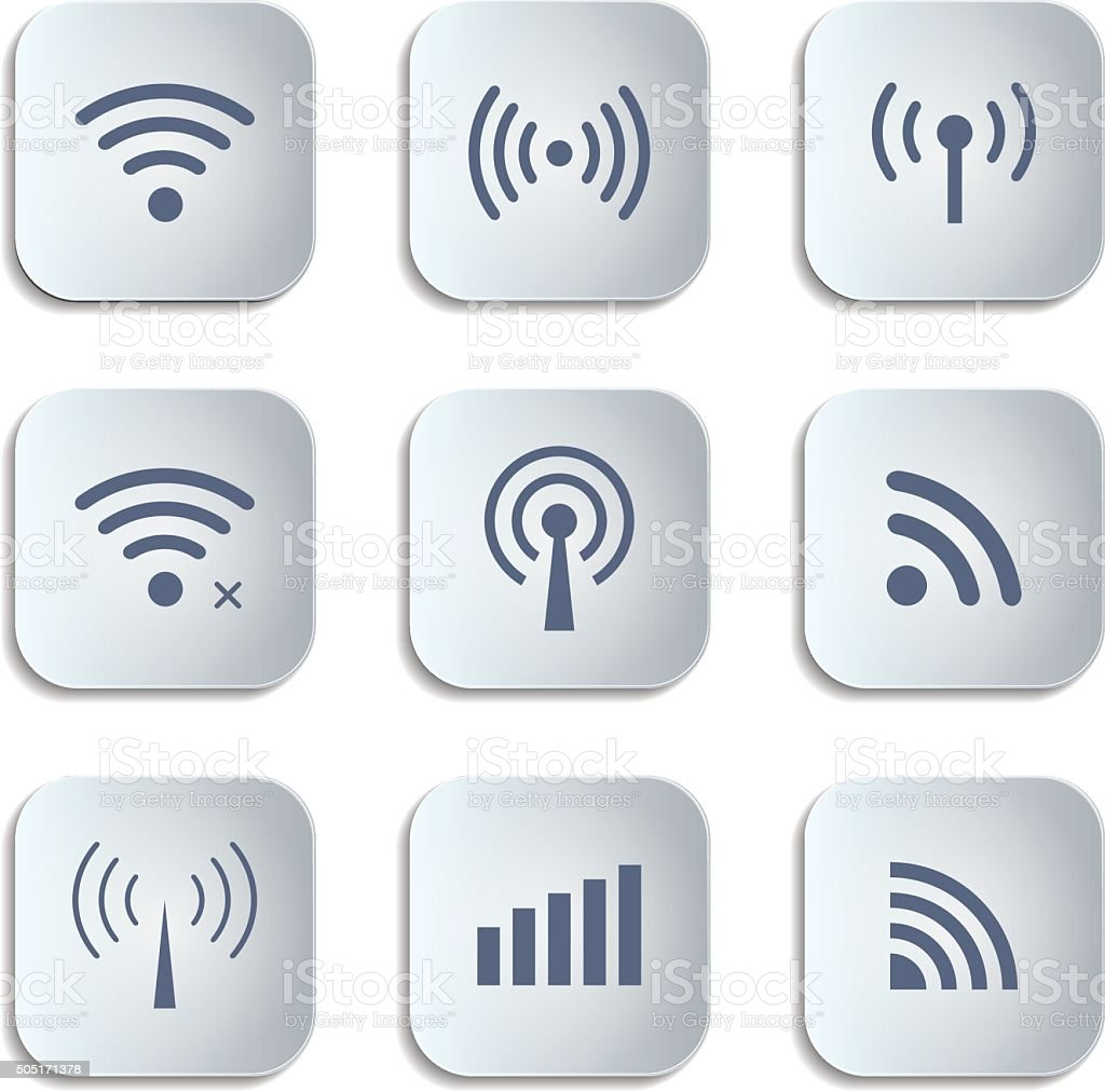 Set of different black vector wireless and wifi buttons vector art illustration