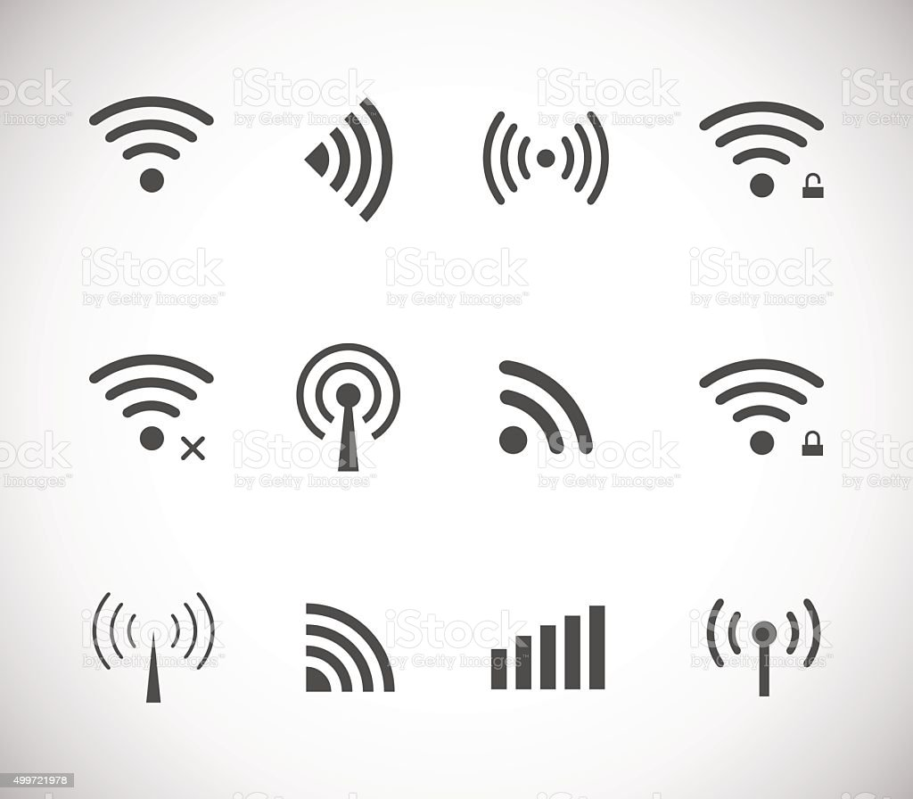 Set of different black vector wireless and wifi icons vector art illustration