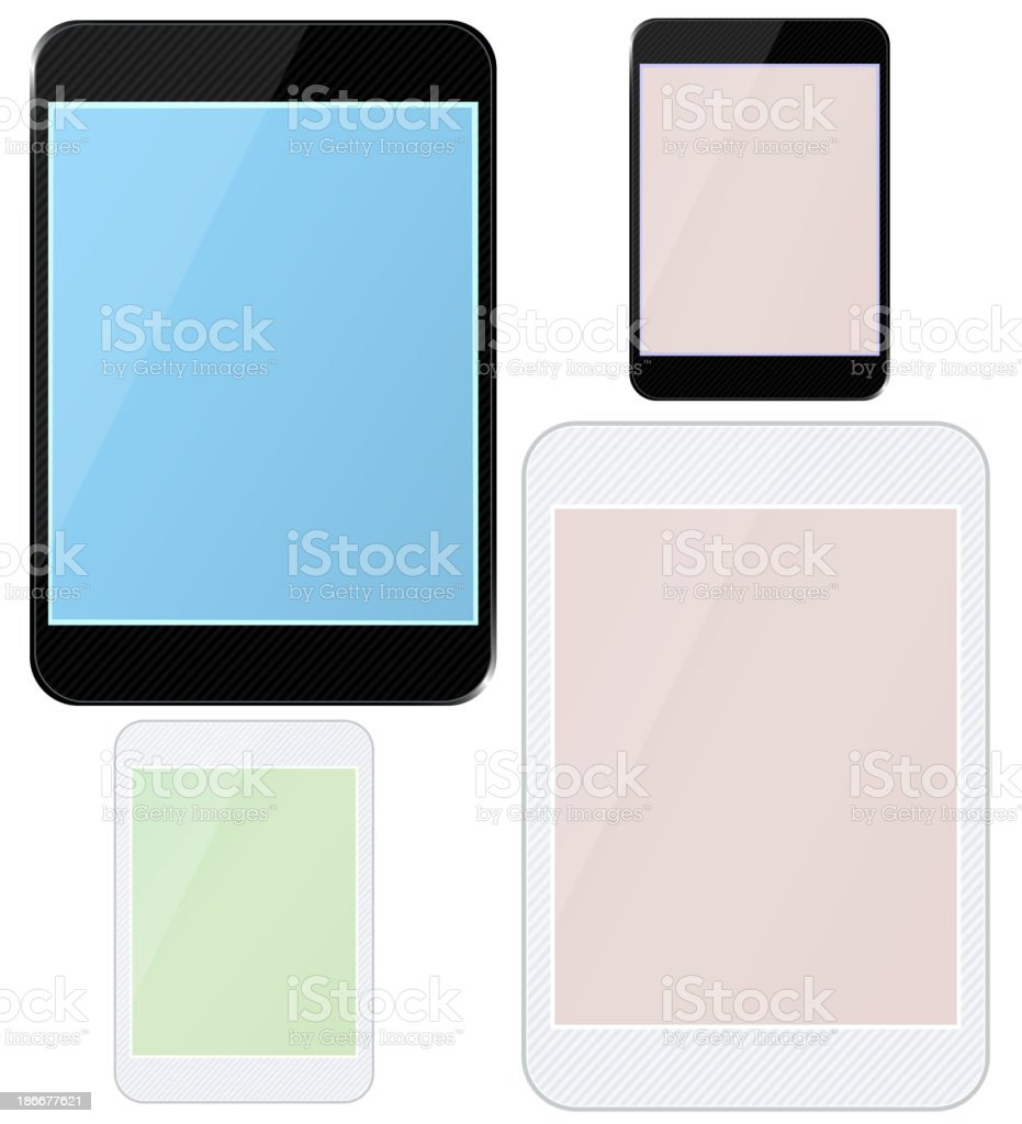 Set of different blank tablets. royalty-free stock vector art