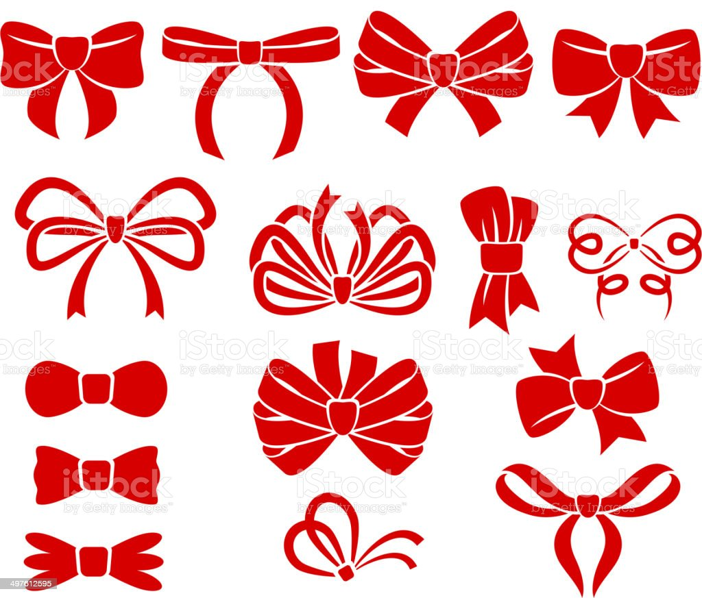 Set of different bows. vector art illustration