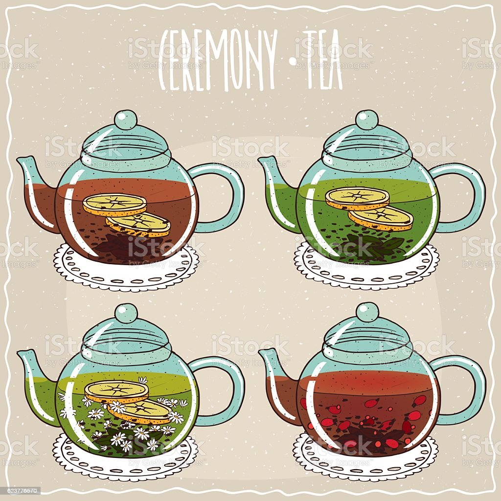 Set of different brewed black and green teas vector art illustration