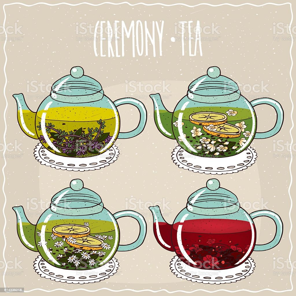 Set of different brewed herbal teas vector art illustration