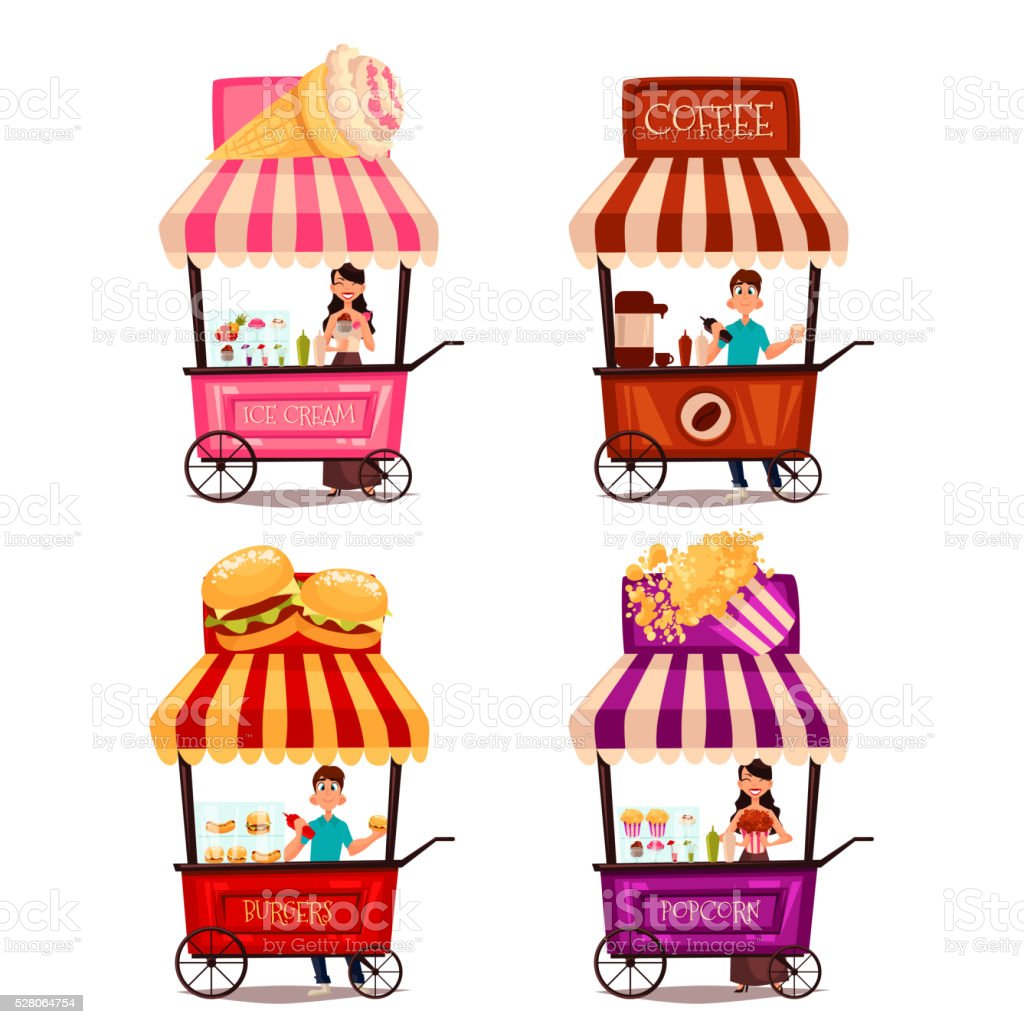Set of different carriages with fast food vector art illustration