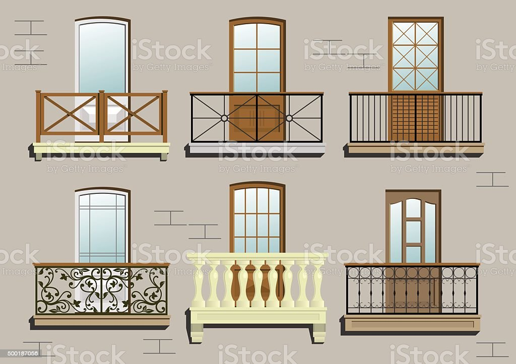 Set of different classical balconies vector art illustration