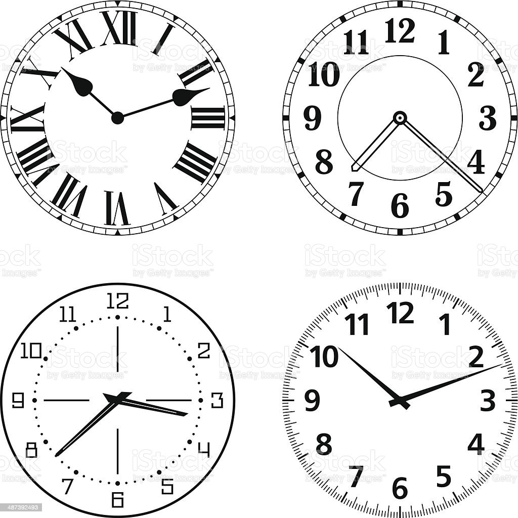 Set of different clock faces vector art illustration