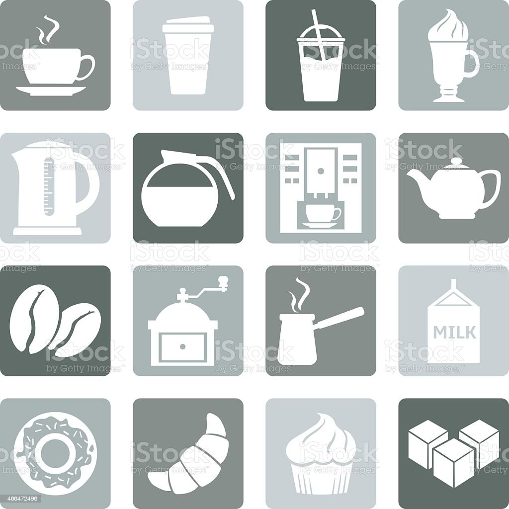 Set of different coffee icons in black and white vector art illustration