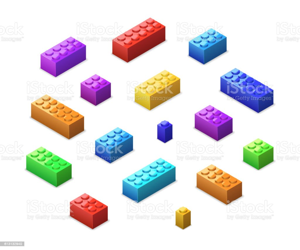 Set of different colorful toy bricks in isometric view vector art illustration