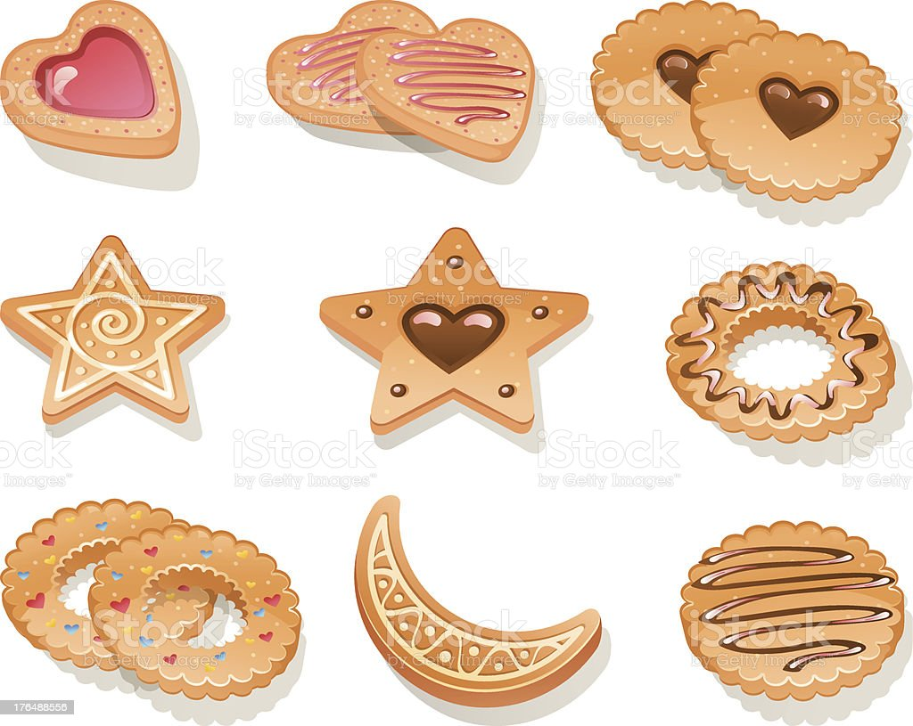 Set of different cookies royalty-free stock vector art