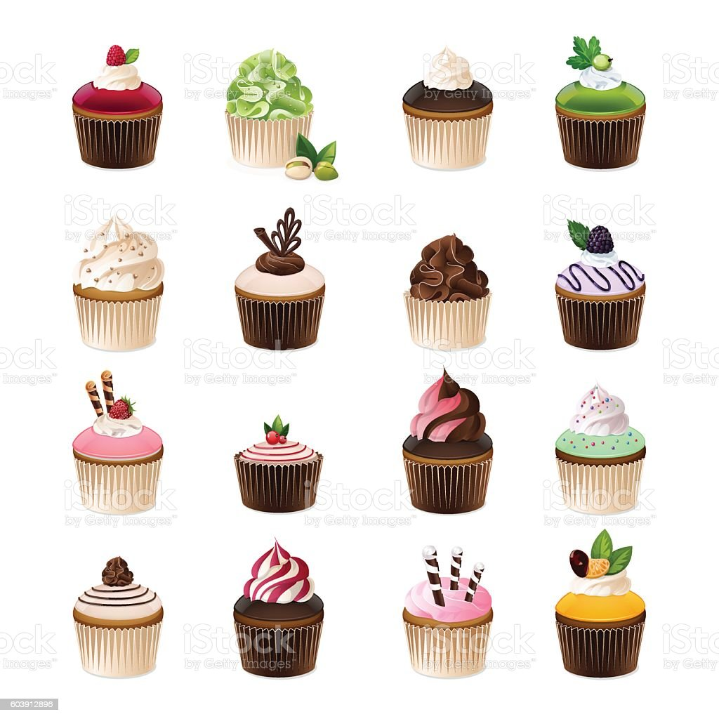 Set of different cupcakes. vector art illustration