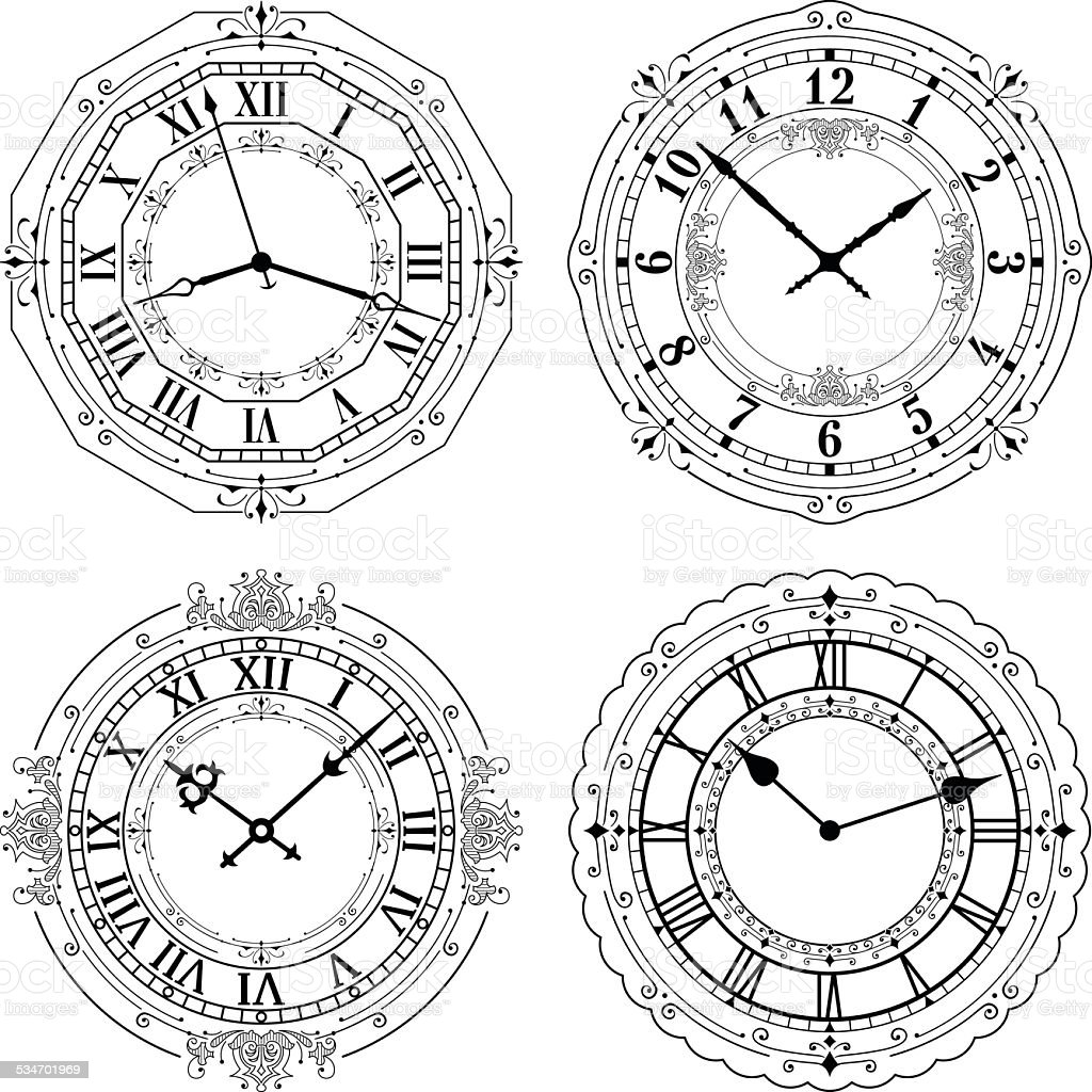 Set of different decorated clock faces. vector art illustration