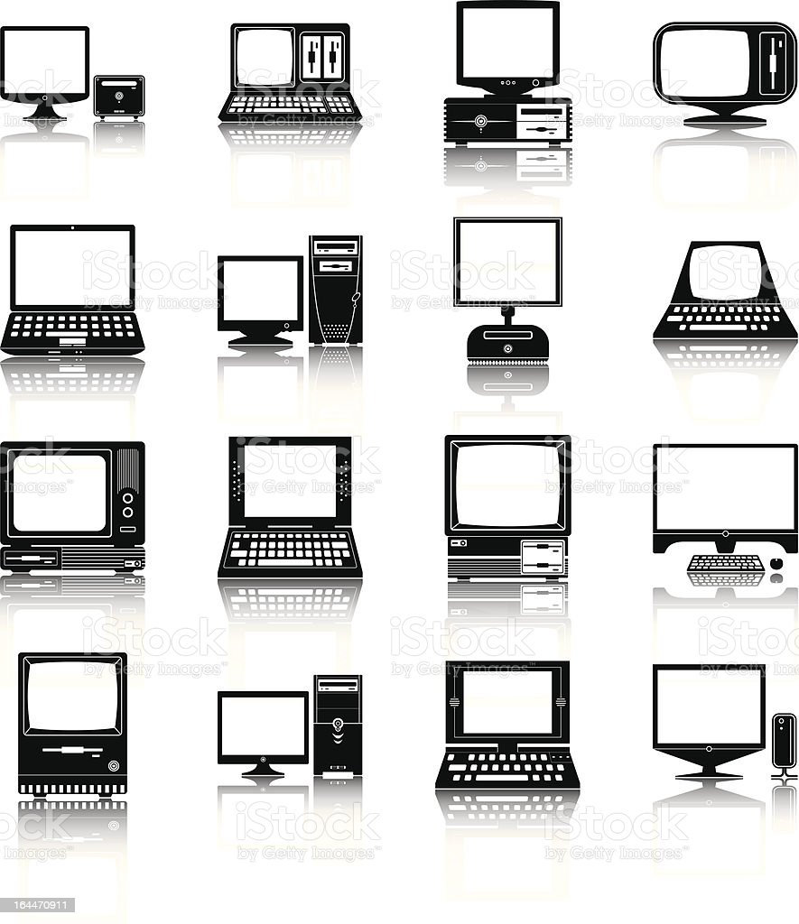 Set of different desktop computer icons vector art illustration