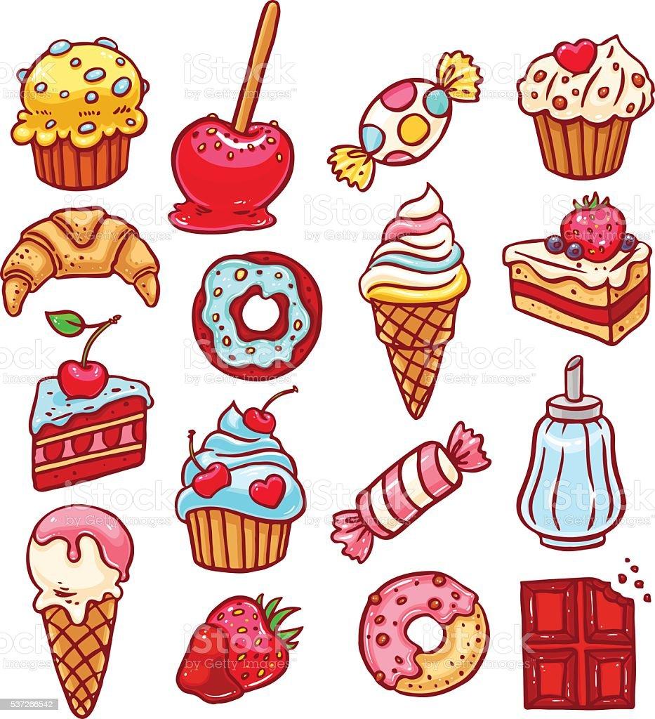 set of different desserts vector art illustration