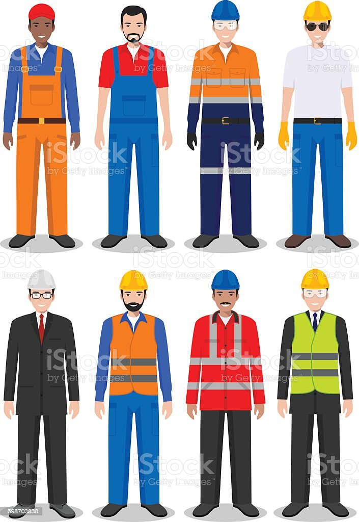 Set of different detailed illustration of worker, builder and engineer. vector art illustration