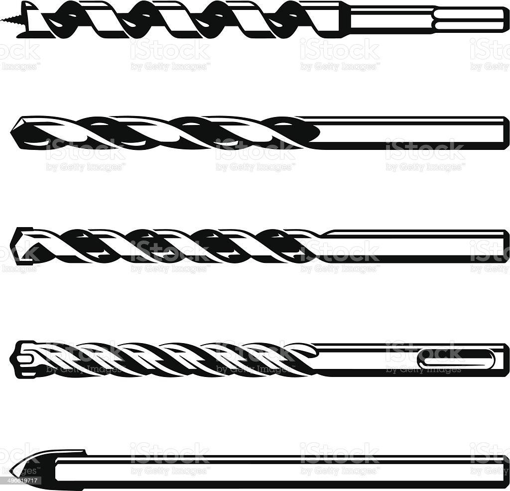 Set of different drills vector art illustration