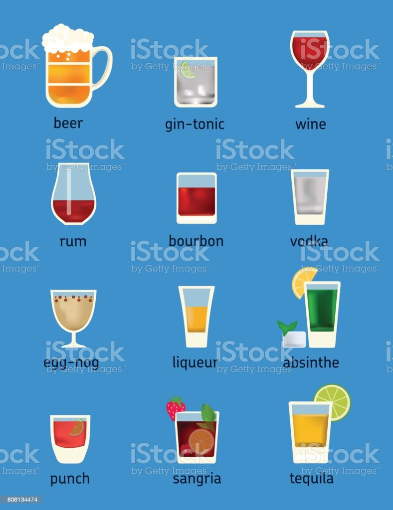 Set of different drinks, cocktails and beer vector art illustration