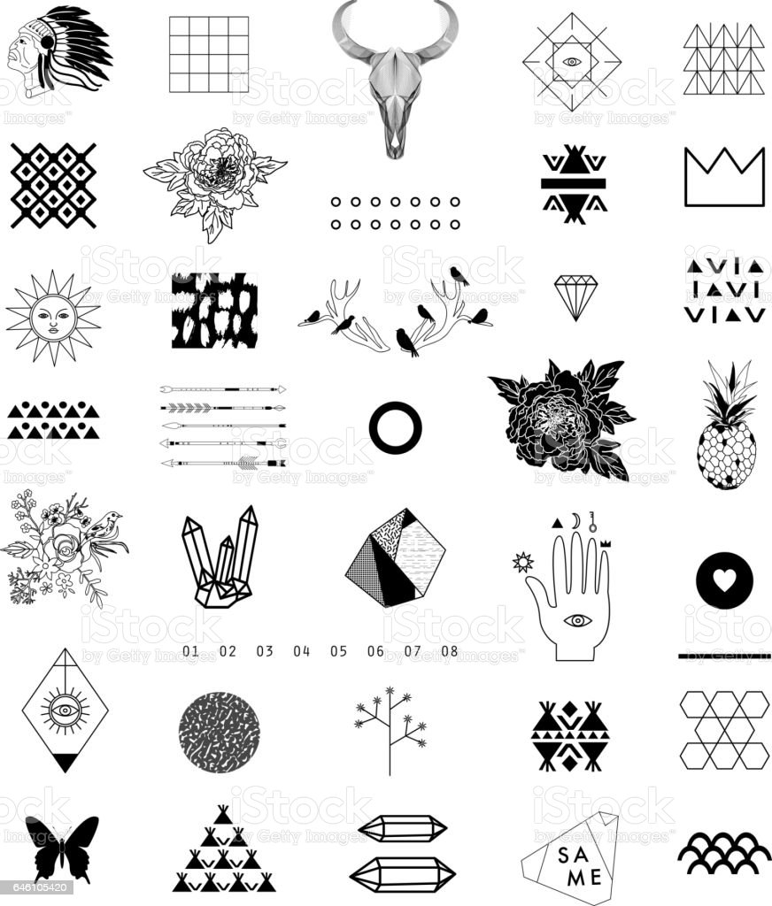 Set of different elements and shapes. vector art illustration