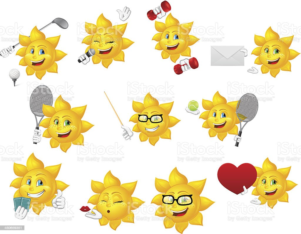 Set of different emoticons available for chat royalty-free stock vector art
