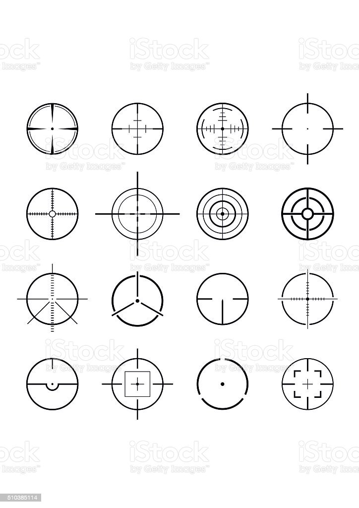 Set of different flat Crosshair sign icons solated. Vector Illustration vector art illustration