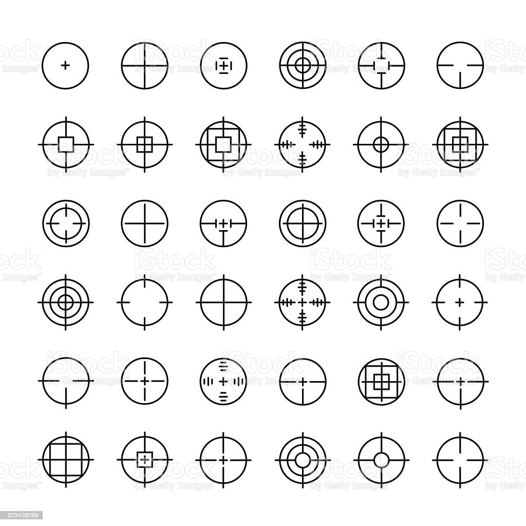 Set of different flat vector crosshair sign icons. Line symbols. vector art illustration