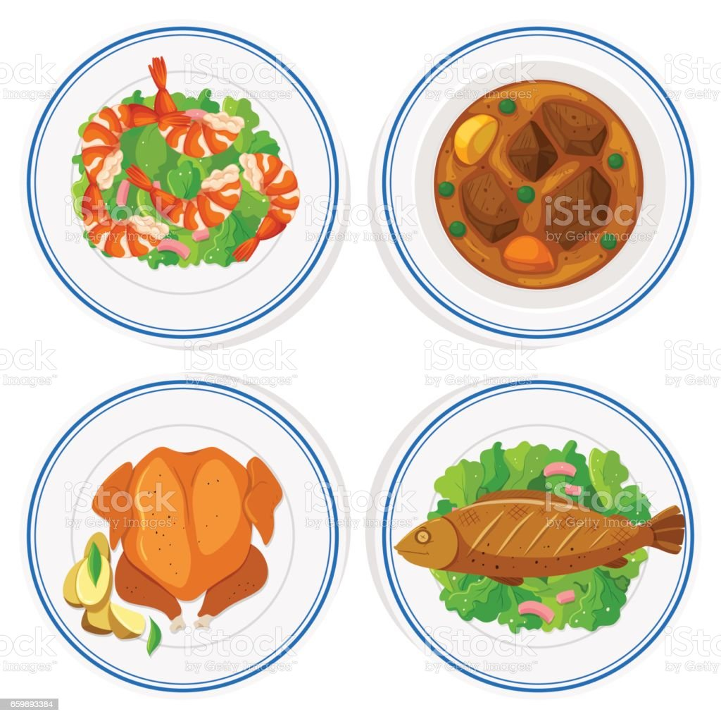 Set of different food on round plates vector art illustration
