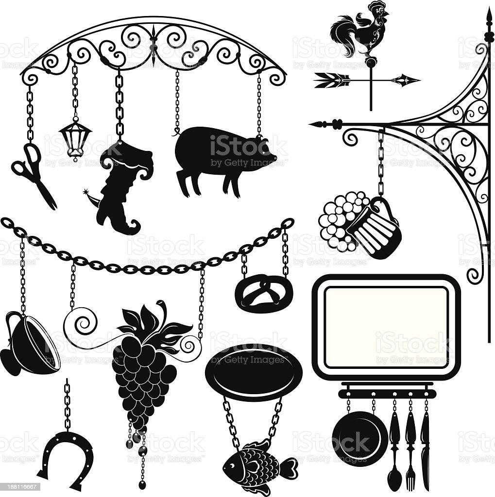 Set of different form metal sign boards vector art illustration