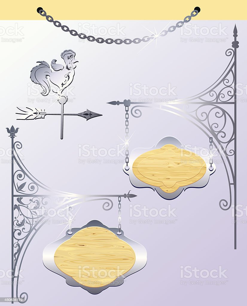 Set of different form wood and metal sign boards royalty-free stock vector art