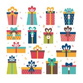 Set of different gift boxes. Flat design. Birthday surprise