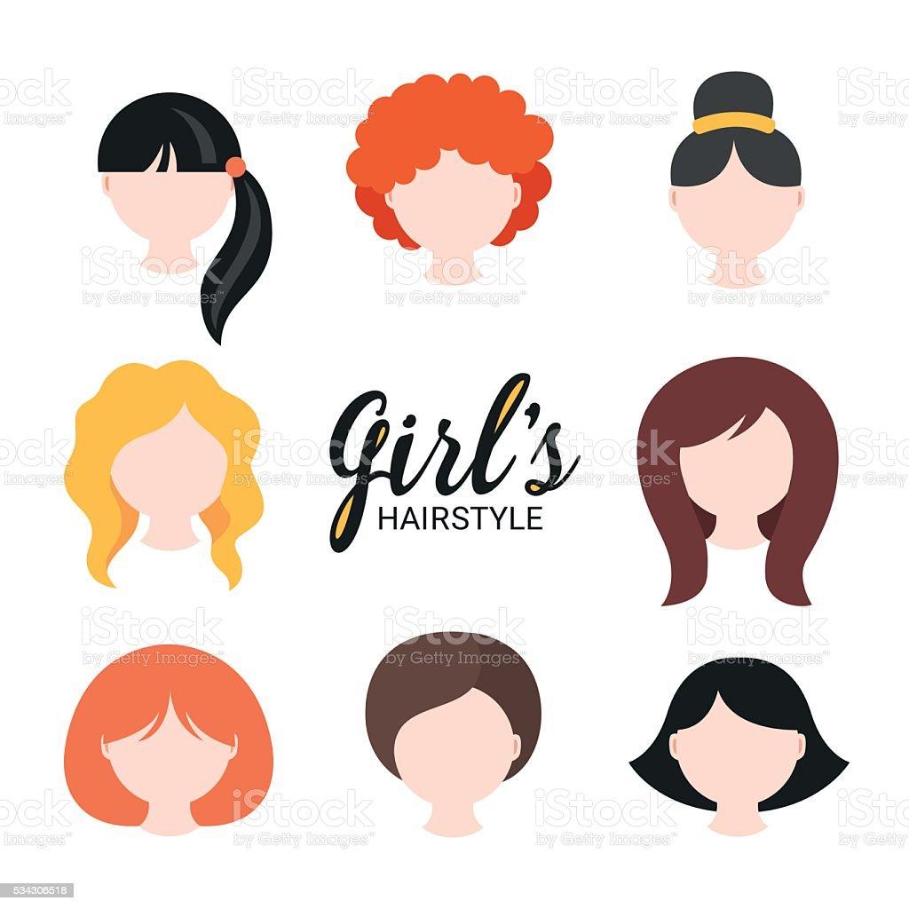 Set of different girl's hairstyle for short, medium, long hair vector art illustration