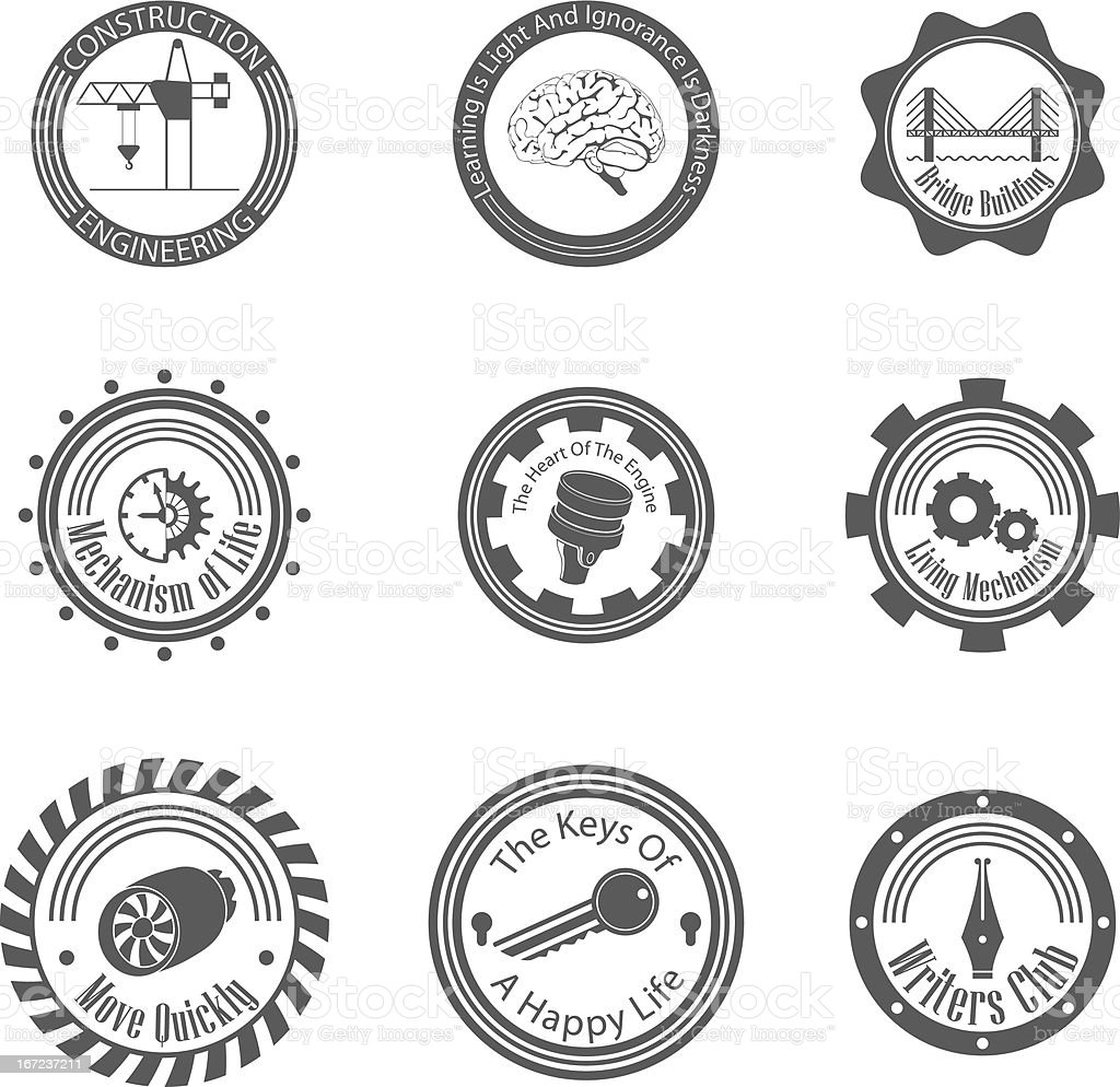 set of different gray icons royalty-free stock vector art