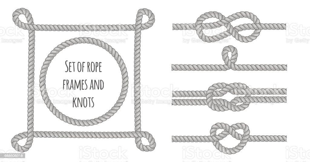 Set of different grey ropes, knots and frames. Vector editable illustration. vector art illustration