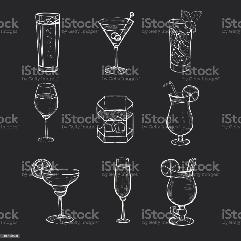 Set of different hand drawn beverages on the blackboard. Vector vector art illustration