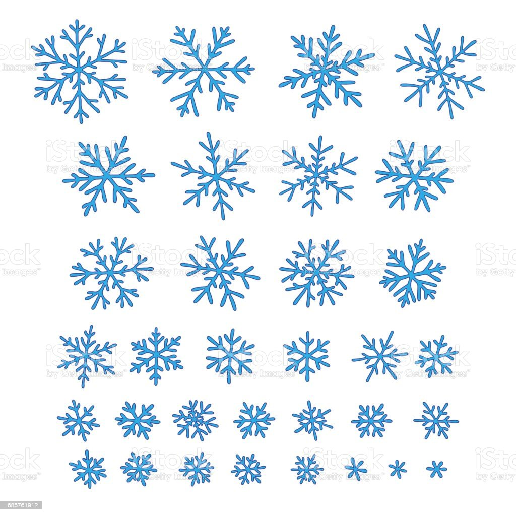 Set of different hand-drawn snowflakes vector art illustration