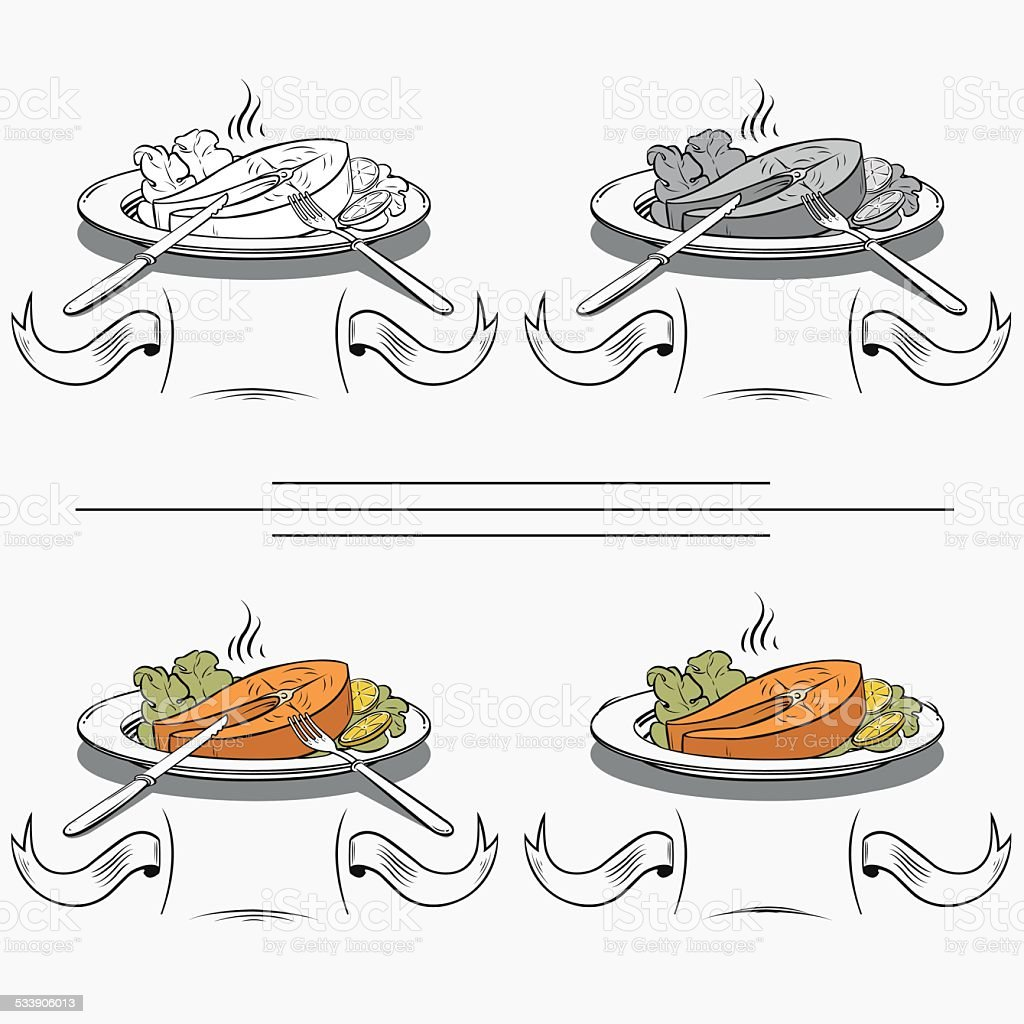 set of different images of salmon royalty-free stock vector art